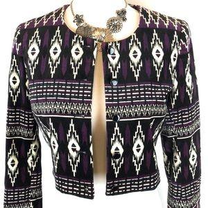 H & M boho aztec tribal cropped jacket